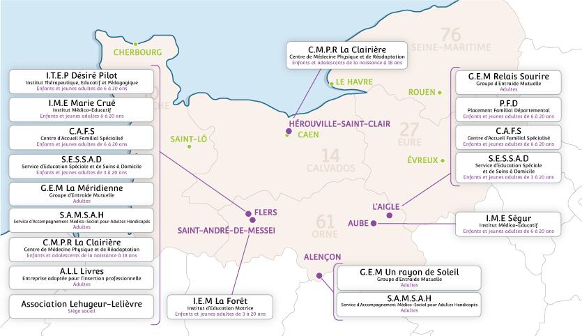 Carte des établissements de l'Associaton Lehugeur-Lelièvre.