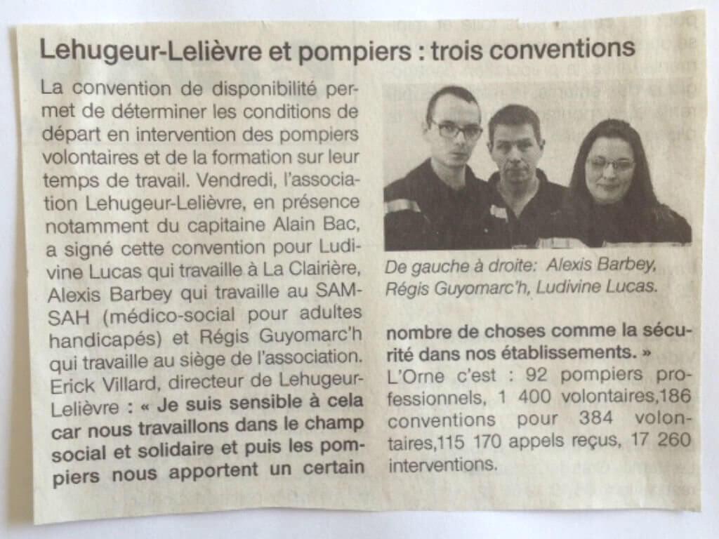 [PRESSE] L'Association Lehugeur-Lelièvre renouvelle son partenariat en signant une nouvelle convention avec le centre de secours de Flers – Article Ouest France du 13 mars 2017
