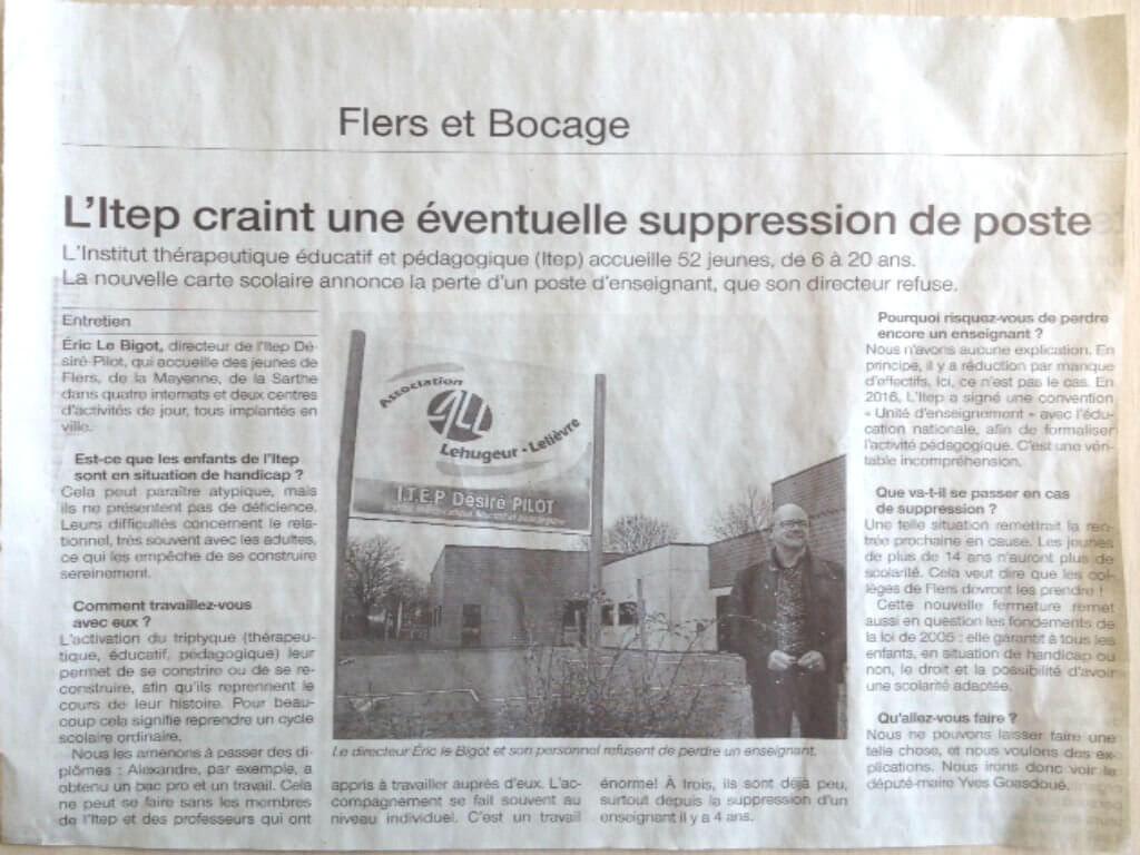 [PRESSE] Eric Le Bigot, Directeur de l'Institut thérapeutique éducatif et pédagogique (ITEP) de Flers, se confie sur son refus de perdre à nouveau un nouvel enseignant au sein de son établissement – Article Ouest France du 1er mars 2017