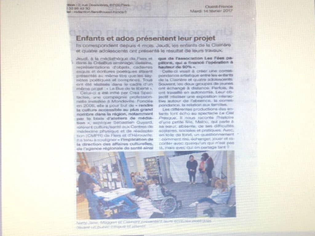 [PRESSE] Enfants et adolescents des Centres de médecine physique et de réadaptation (CMPR) La Clairière de Flers et Hérouville-Saint-Clair présentent leurs travaux dans le cadre du projet «Le Bus de la liberté» – Article Ouest France du 14 février 2017