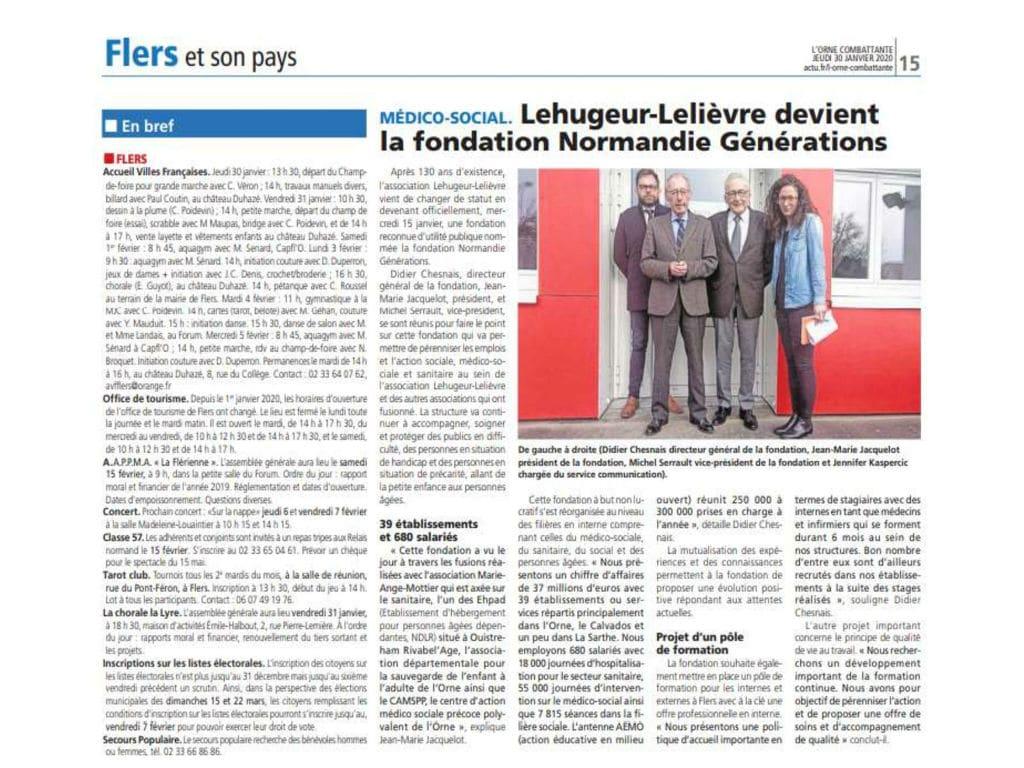 «Lehugeur-Lelièvre devient la Fondation Normandie Générations» – L'Orne Combattante