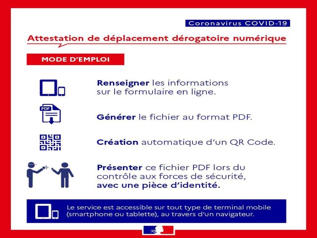 L'attestation de déplacement dérogatoire en version numérique est disponible