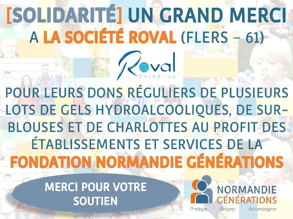 La Société ROVAL vient une nouvelle fois en aide à la Fondation Normandie Générations