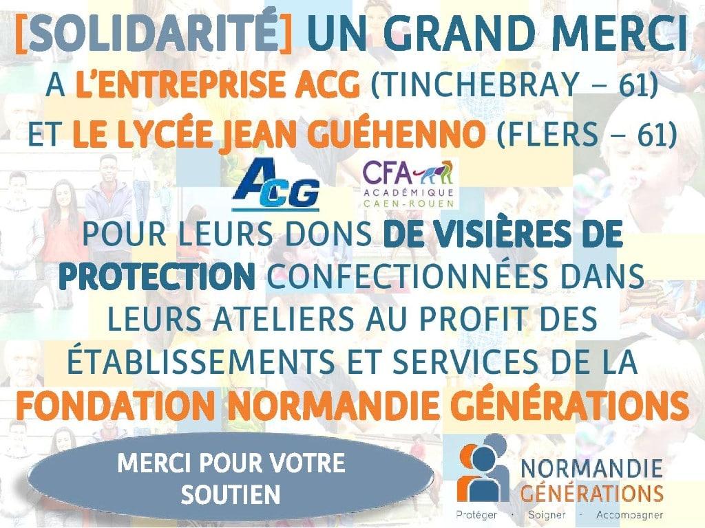 L'entreprise ACG et le Lycée Jean Guéhenno font dons de visières de protection à la Fondation