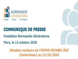 [COMMUNIQUÉ DE PRESSE] Situation sanitaire de l'EHPAD RIVABEL'ÂGE au 13/10/2020