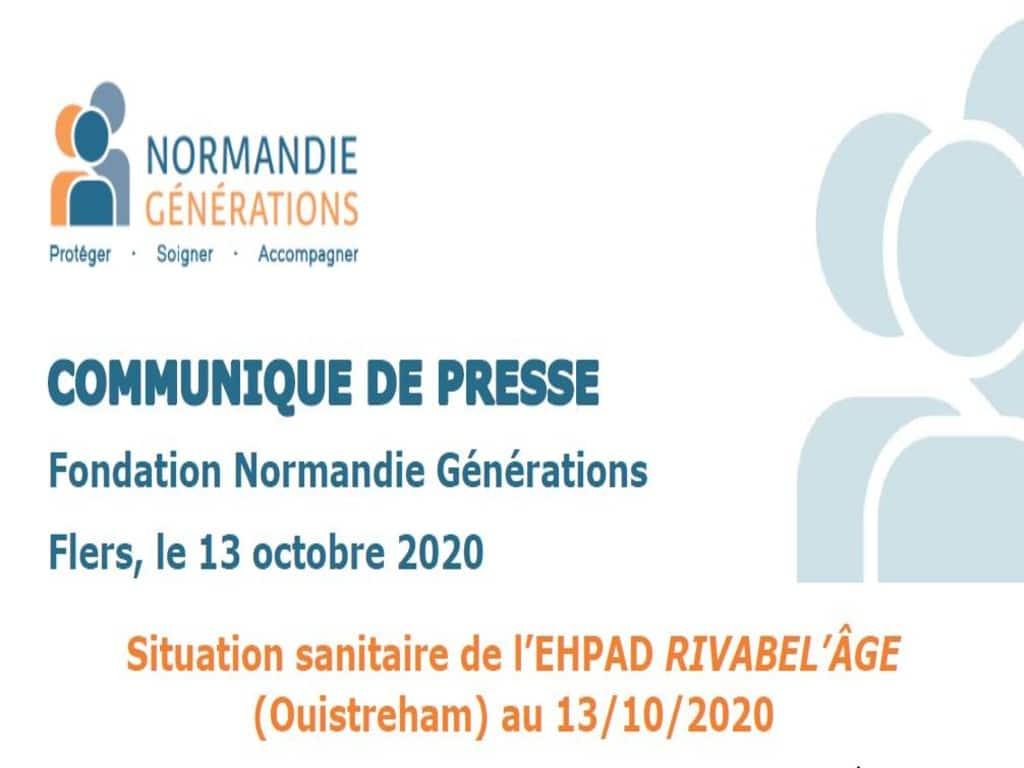 Situation sanitaire de l'EHPAD RIVABEL'ÂGE au 13/10/2020