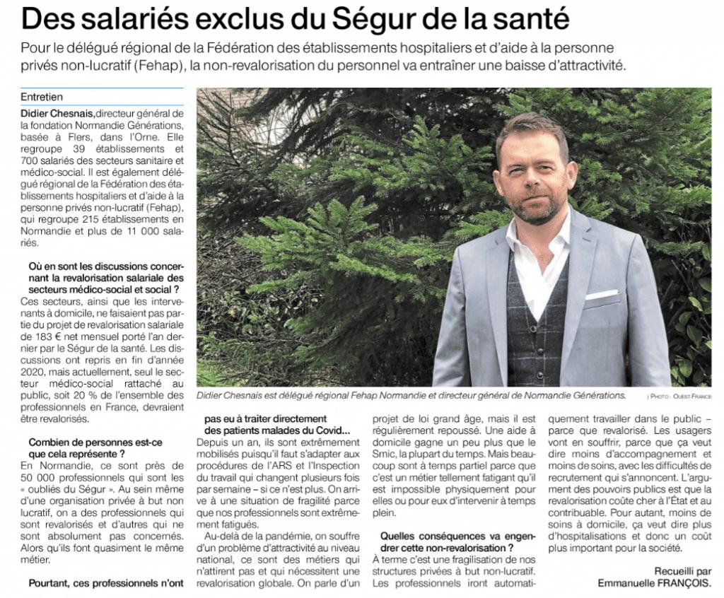 [PRESSE] Article Ouest France – Interview de Didier CHESNAIS – Les «oubliés du Ségur» – 27/28 février 2021