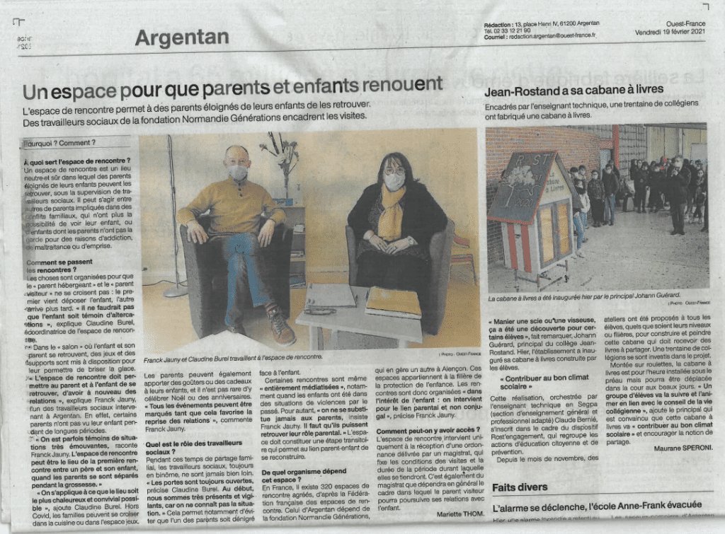 [PRESSE – ESPACE DE RENCONTRE] Article Ouest France – 19 février 2021 – «Un espace pour que parents et enfants renouent»